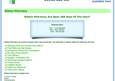 Bilston Pharmacy Website